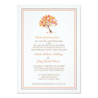 Invitación plana del boda del árbol del tema del