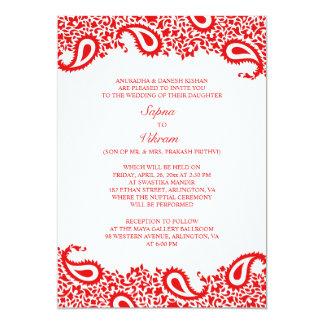 Invitación plana del boda indio elegante de