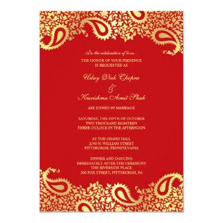 Invitación plana del boda rojo de Paisleys Invitación 12,7 X 17,8 Cm