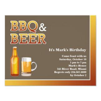 Invitación plana del cumpleaños del Bbq y de la Invitación 10,8 X 13,9 Cm