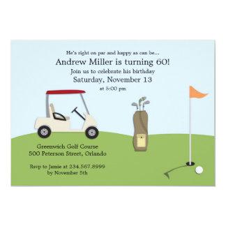 Invitación plana del cumpleaños del golf