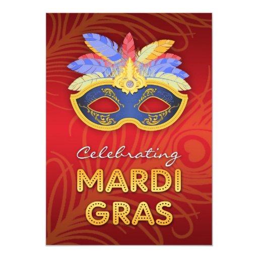 Invitación plana del fiesta del carnaval invitación 12,7 x 17,8 cm