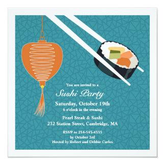 Invitación plana del fiesta del sushi