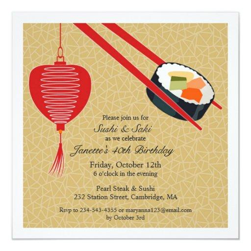 Invitación plana del fiesta del sushi del