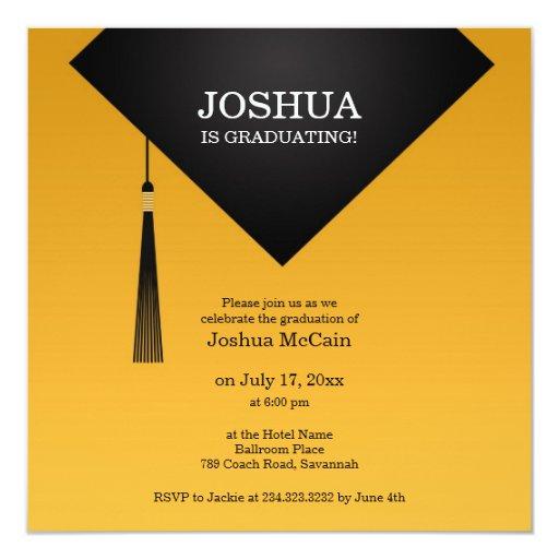 Invitación plana elegante del gorra negro de la invitación 13,3 cm x 13,3cm