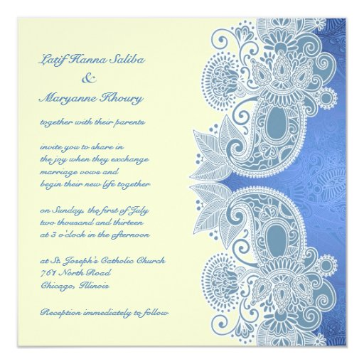 Invitación plana floral azul del boda del