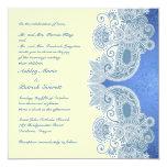 Invitación plana floral azul del boda del invitación 13,3 cm x 13,3cm