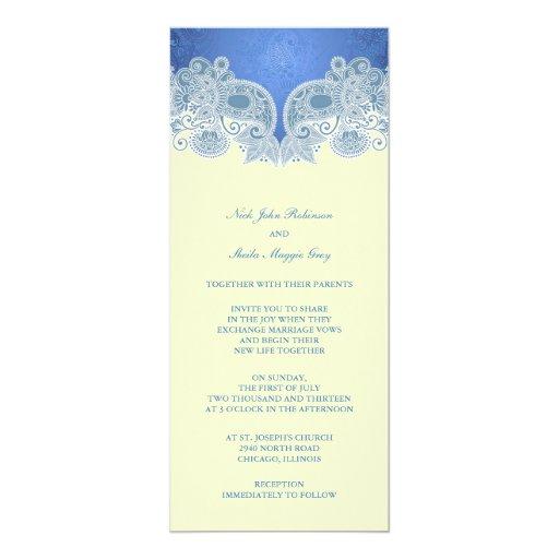 Invitación plana floral azul del boda del invitación 10,1 x 23,5 cm