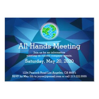 Invitación polivinílica baja azul de la reunión