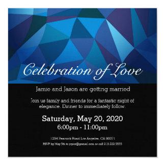 Invitación polivinílica baja azul del boda