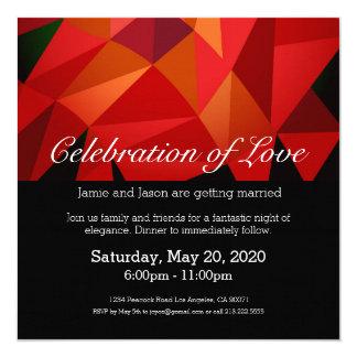 Invitación polivinílica baja roja del boda
