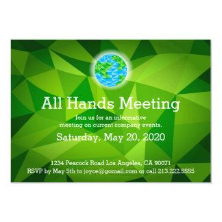 Invitación polivinílica baja verde de la reunión