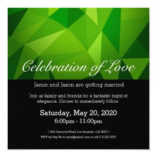 Invitación polivinílica baja verde del boda