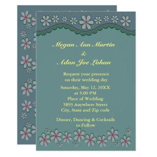 Invitación polvorienta del boda de la flor del