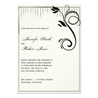 Invitación poner crema negra subió Deco del boda Invitación 12,7 X 17,8 Cm