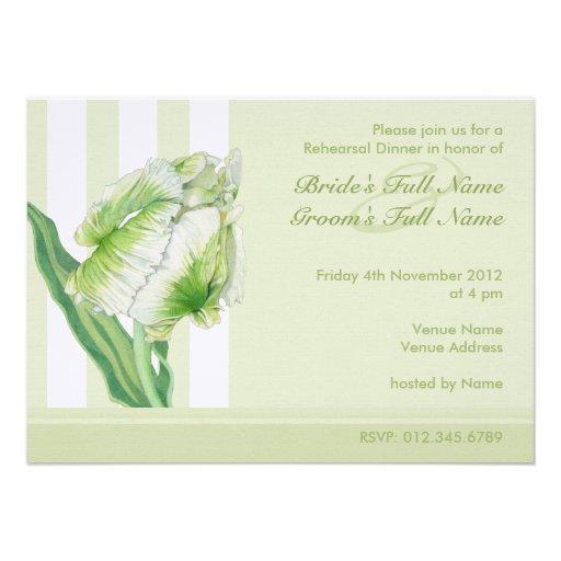 Invitación poner crema verde de la cena del ensayo