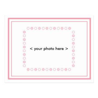 Invitación Postcare del bebé - rosa y blanco Tarjeta Postal