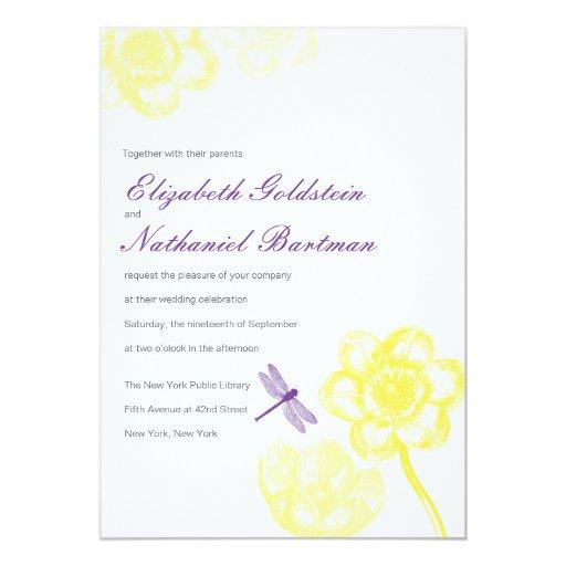 Invitación preciosa del boda de la libélula en