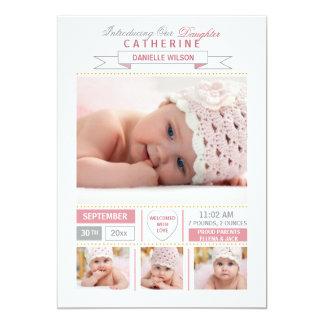 Invitación preciosa del nacimiento de la foto del invitación 12,7 x 17,8 cm