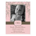 Invitación preciosa del nacimiento del bebé de los tarjetas postales