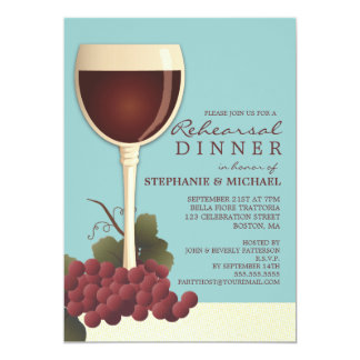 Invitación preciosa del vino y de la cena del