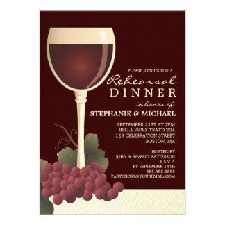 Invitación preciosa del vino y de la cena del ensa