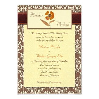 Invitación presionada otoño del boda de la flor invitación 12,7 x 17,8 cm