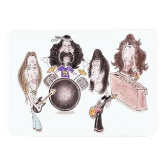 Invitación psicodélica de la caricatura del rock