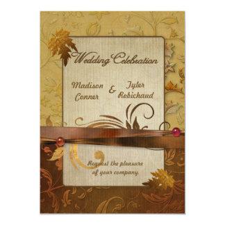 Invitación pulida del boda del oro del otoño