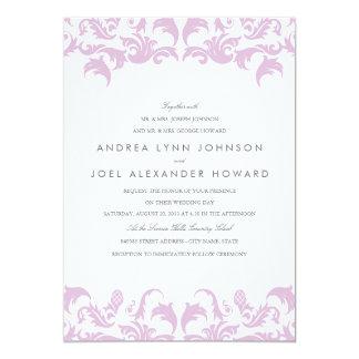 Invitación púrpura atractiva del boda del damasco
