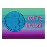invitación púrpura azul tarjeta