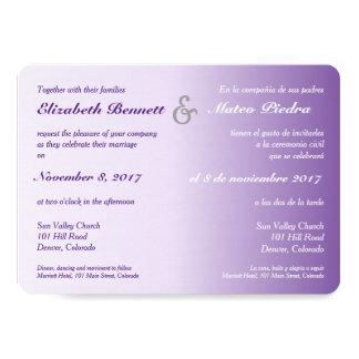 Invitación púrpura bilingüe del boda de Ombre