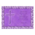 Invitación púrpura cristiana del boda de la pasión