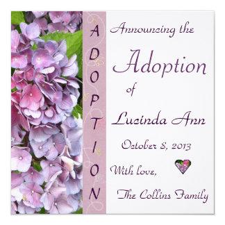 Invitación púrpura de la adopción del Hydrangea