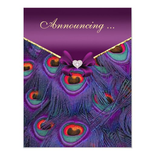 Invitación púrpura de la boda del pavo real del invitación 10,8 x 13,9 cm