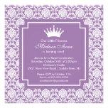 Invitación púrpura de la fiesta de cumpleaños de p