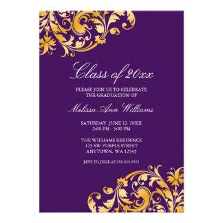 Invitación púrpura de la fiesta de graduación del
