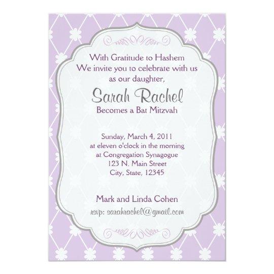 Invitación púrpura de la flor del diamante