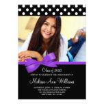 Invitación púrpura de la graduación de la foto del