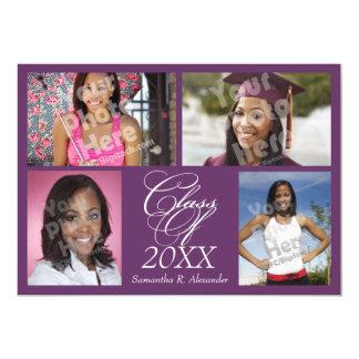 invitación púrpura de la graduación del collage