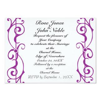 Invitación (púrpura) de marfil del boda de la
