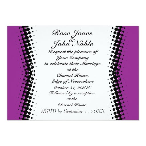 Invitación (púrpura) de marfil del boda de la invitación 12,7 x 17,8 cm