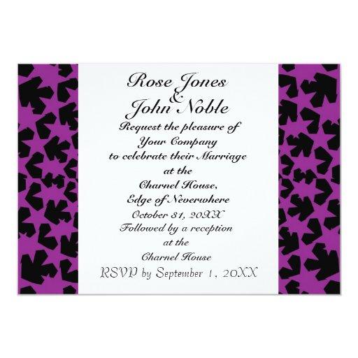 Invitación (púrpura) de marfil del boda de las invitación 12,7 x 17,8 cm