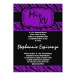 invitación púrpura de Quinceanera 15 del estampado