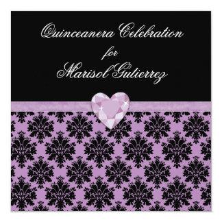 Invitación púrpura de Quinceanera del corazón de
