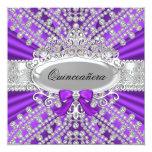 Invitación púrpura de Quinceañera del diamante y