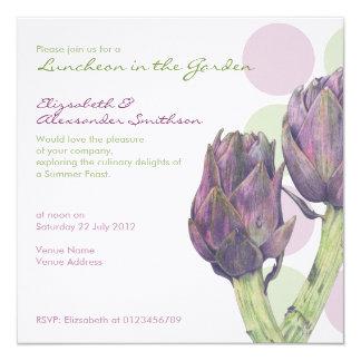 Invitación púrpura del alumerzo de los puntos de