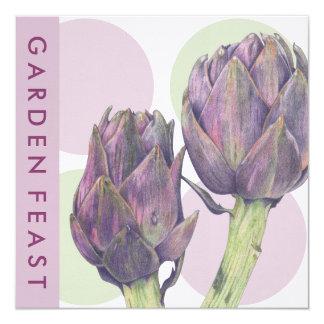 Invitación púrpura del banquete del jardín de los