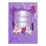 Invitación púrpura del boda invitación 8,9 x 12,7 cm