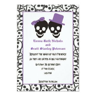 Invitación púrpura del boda de Halloween de los